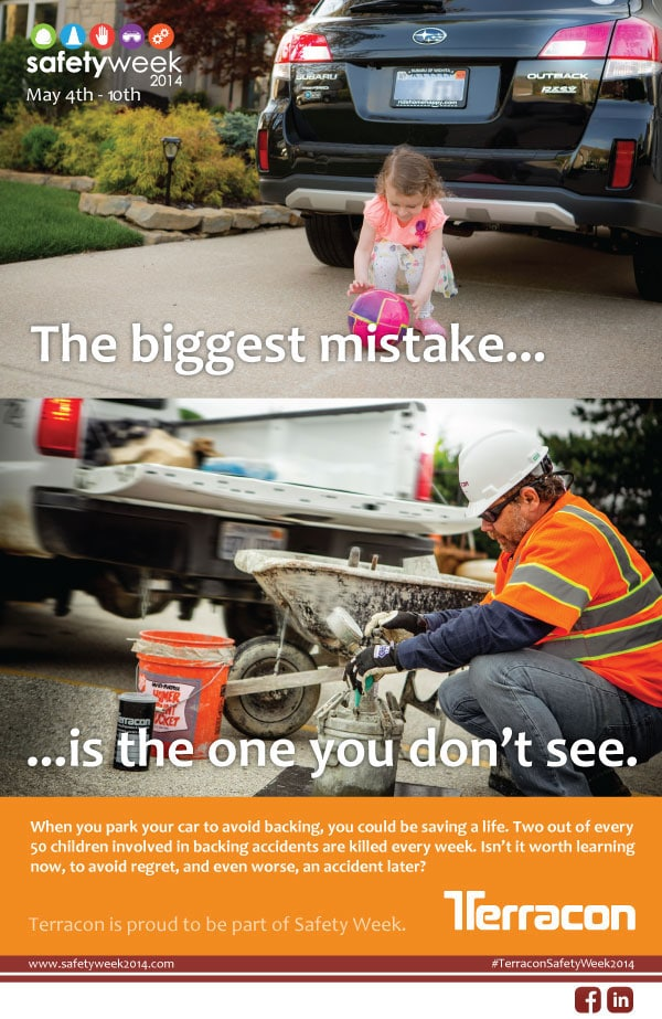 Terracon Safety Week reminder to park so you avoid backing up and prevent accidents.