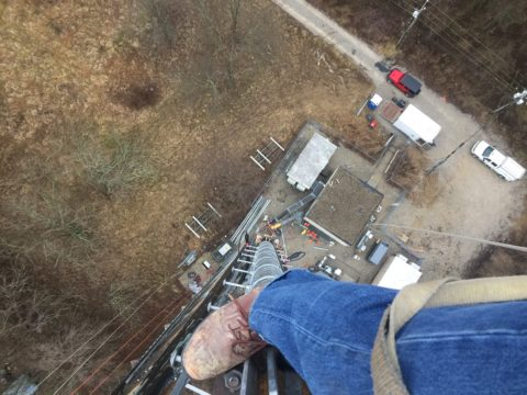 looking down from cell tower