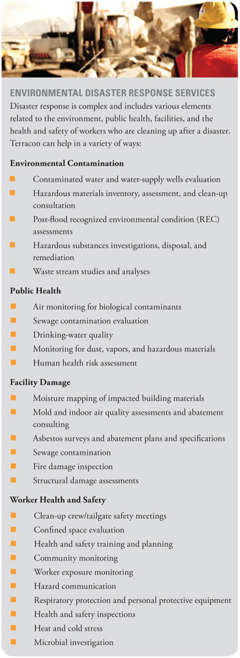 Terracon provides environmental disaster response services including water contamination, facility repair and worker safety consulting.
