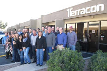 Terracon employees gathered in front of an office. Find environmental and geotechnical career opportunities with Terracon.
